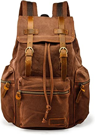 ac3c65cdf215 GEARONIC TM Men 21L Vintage Canvas Backpack Leather Laptop School Military