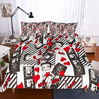 MOUMOUHOME Girls Bedding Set Queen Size,3D Betty Boop in Red Dress Beauty Lady Printed Black/White Duvet Cover Set for Teens,Decorative 3 Pieces with 1 Duvet Cover 2 Pillow Sham