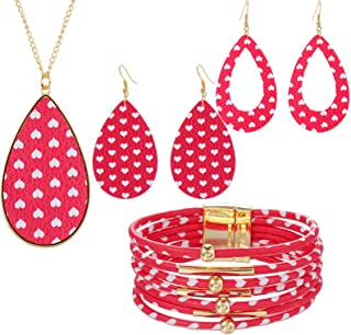 COLORFUL BLING 4 Pcs Teardrop Valentine's Day Plaid Print Jewelry Set Valentine's Day Plaid Multi-Layer Bracelet Faux Leat...