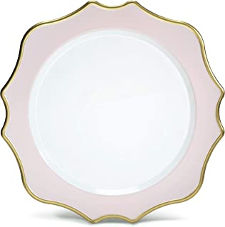 clear pink glass plates
