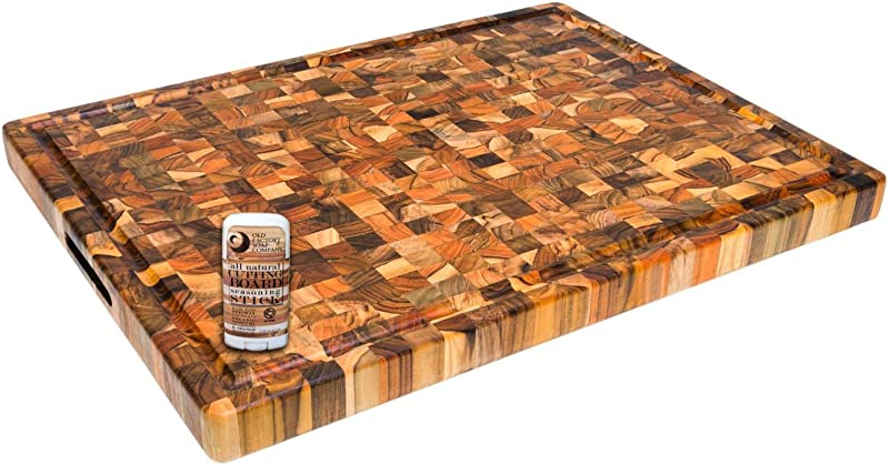 Proteak End Grain Teak 24 X 18 Inch Rectangular Hand Grip And Juice Grooved Cutting Board With Seasoning Stick