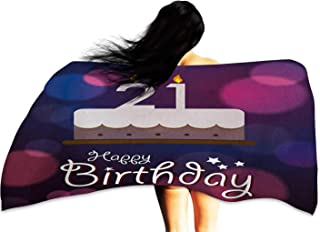 Soft Bath Towel 21st Birthday Happy Birthday Quote with Stars on Abstract Tones of Pink Inspired Image W12 xL35 Suitable for bathrooms, Beaches, Parties