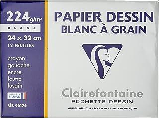 Clairefontaine 96176C - Pochette Dessin Scolaire - 12 Feuilles Papier Dessin Blanc à Grain - 24x32 cm 224g - Idéal pour le...