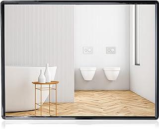 SHANFO Large Wall Mirrors 60*80 cm Black Metal Framed Mirror Rectangular Bathroom Mirrors Wall Mounted Modern Simple Style