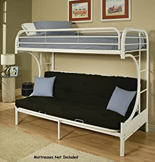 Acme Furniture 02091W-W Eclipse Futon Bunk Bed, Twin/Full, White
