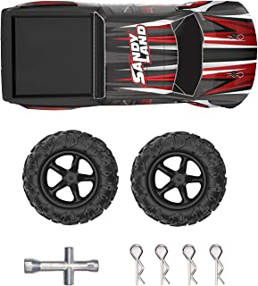 DEERC 1:18 RC Truck Car Shell Body Cover and 2 Tires Wheels Spare Parts Accessories for 9300 High Speed Remote Control Truck
