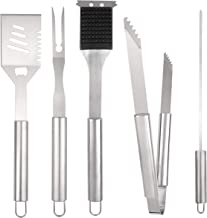 Outdoor Addict BBQ Grill Tool Set - 8-Piece Kit | Heavy Duty Stainless Steel Barbecue Grilling Utensils | Grill Brush, Skewers, Spatula, Fork, Tong | Premium Quality Grilling Accessories