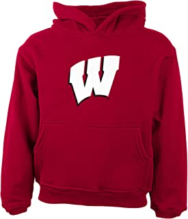 NCAA Wisconsin Badgers Boys Rp FLC Hoodie Primary Logo, University Red, 4 Tall