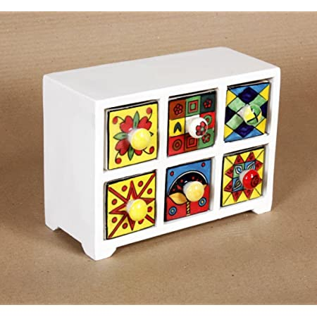 Universal Art 6-Drawer Wooden Chest with Ceramic Drawers (Multicolour)