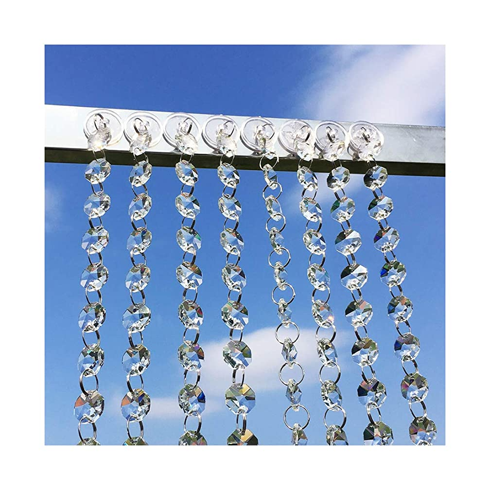 SIYOUKI Clear Crystals Beads Octagon Bead Curtain Chandelier Wedding Party Decoration