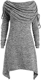 comprar comparacion Talla Extra Sudadera Sin Capucha Mujer Largo Blusas Camiseta de Manga Larga Cuello Redondo Suelto Túnica Casual Basic Pull...