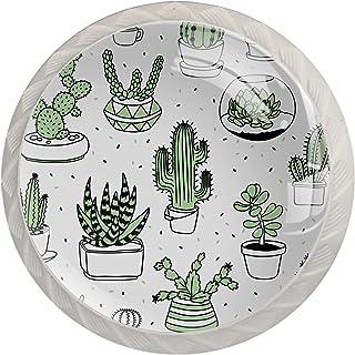 Poignées de Tiroir pour armoire,tiroir,coffre,commode,etc.. Succulentes et cactus dessinés à la main