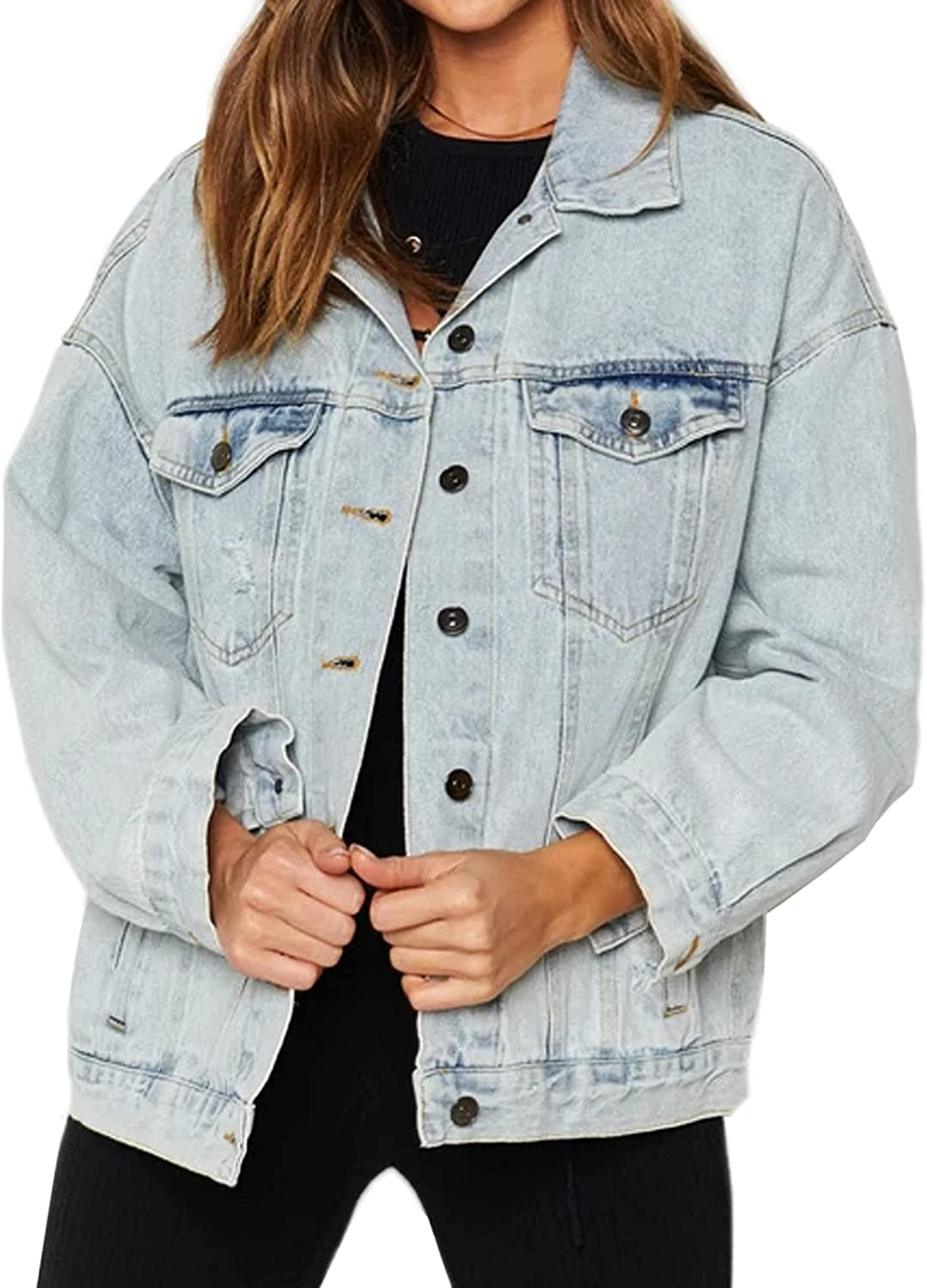 Oversized Denim Jacket for Women Long Jean Sleeve Loose Challenge the lowest price of Japan ☆ In a popularity Classic
