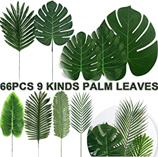 66 PCS Tropical Palm Leaves With Stem 9 Size Fake Monstera Leaves Tropical Party Hawaiian Jungle Beach Safari Leaves Luau Party Supplies Birthday Theme BBQ Wedding Table Decorations Artificial Plants
