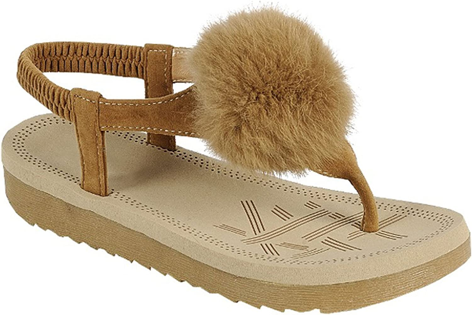TravelNut Easter Special Sale Simone Comfy T-Strap Slingback Sandal with Faux Fur Pom Pom for Women (Assorted Fall colors)