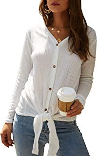 ECOWISH Womens V Neck Stripe Print Tie Front Knot Button Down Tunic Blouse Waffle Knit Casual Henley Shirt Tops