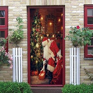 LucaSng Adesivi per Porte Arte Creativa Cartone animato albero di natale santa vacanza - 95x215 cm Carta Da Parati Murale ...