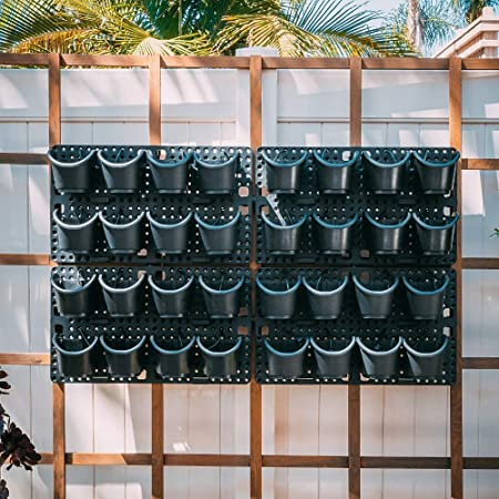 Pro System-Vertical Wall Planter- Watex Expandable Green Wall w/ Built-in Micro dripper 4 Panels, Total of 32 pots, US Patented; BPA Free Planters
