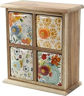 The Pioneer Woman Flea Market 4-Drawer Distress Spice/Tea Box
