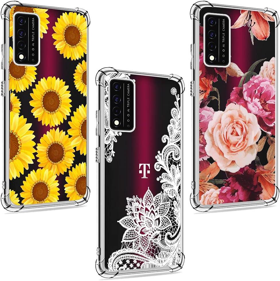 (3 Pack) for T-Mobile Revvl V Plus 5G Case, Shock-Absorption Anti-Scratch Crystal Clear Soft TPU Bumper Protective Phone Case Cover for T-Mobile Revvl V+ 5G 6.82 inch 2021, Flower