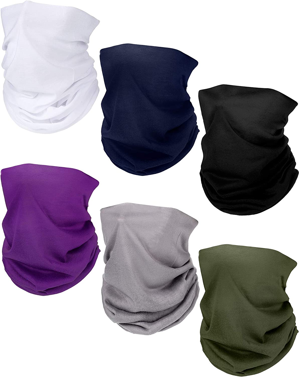 6 Pieces Breathable Lightweight Neck Gaiter Sun Protection Face Mouth Cover for Kids Men Women