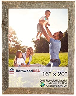 BarnwoodUSA Rustic 16x20 Inch Picture Frame 1 1/2 Inch Wide | 100 Percent Reclaimed Wood, Weathered Gray