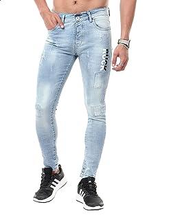 Andora Ruck Letter-print Side Pocket Ripped Washed Slim-fit Cotton Denim Pants for Men