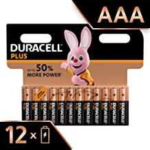 Duracell Plus AAA Alkaline Batteries, Pack of 12, 1.5 Volts LR03 MN2400 (Packaging May Vary)