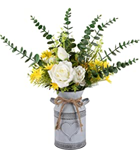 LIBWYS Metal Flower Vase Milk Can Rustic Style with Rose & Eucalyptus Shabby Chic Metal Vase for Rustic Home Dining Table Centerpieces Decor (White, 1)