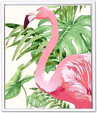 Painting Mantra - Flamboyant Flamingo Framed Canvas Art Print - 11 INCH X 13 INCH