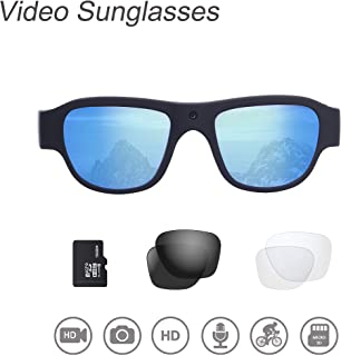 Video Sunglasses, 16GB 1080P HD Outdoor Sports Action Camera with Built in 15MP Camera and Polarized UV400 Lens, Compatible with Prescription Lens and Interchangeable Lens