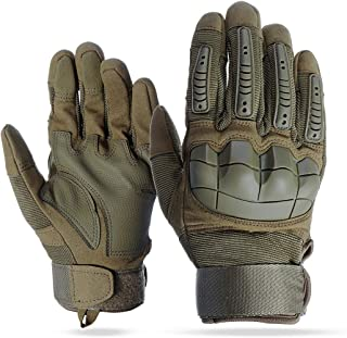 HobbyAnt Touch Screen Full Finger Gloves Motorcycle Military Tactical Airsoft Hard Knuckle Outdoor - Size XL Color Brown