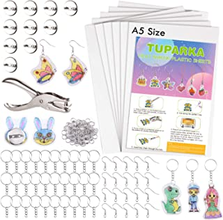 TUPARKA 81 Pcs Shrink Plastic Sheet Kit,Includes 20 Blank Heat Shrinky Art Paper Sheets,Hole Punch,30 Keychains,20 Ear Hooks and 10 Brooches,Shrink Film Paper Craft Accessories for Kids