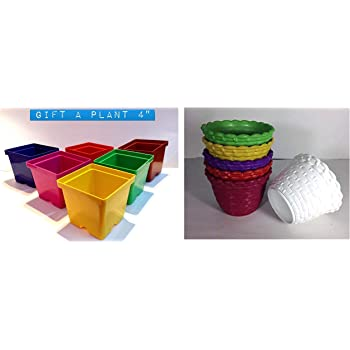 Malhotra Plastic 110022 Plastic Gift Pot Set (Multicolored, 8-Pieces) and Malhotra Plastic 110030 Plastic Star Pot Set (Multicolored, 6-Pieces)