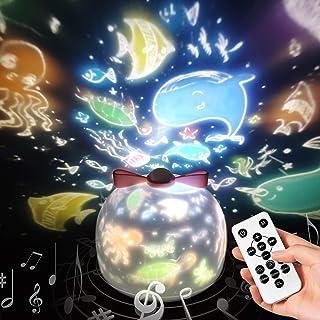 リモコン・タイマー式 スタープロジェクターライト 15/30/60分タイマー 8曲の音楽 8種類の投影映画フィルム 360度回転 SYOSIN 星空ライト ベッドサイドランプ USB充電式 クリスマス飾り スターナイトライト タイマー プロジェ...
