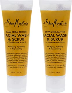 Shea Moisture Raw Shea Butter Facial Wash And Scrub For Unisex, 4 Oz. (Pack of 2)