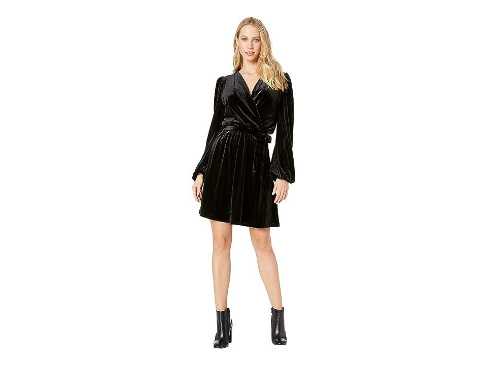 Bebe Faux Wrap Dress (Jet Black) Women