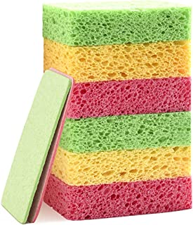 Sponsored Ad - SILUKER Non-Scratch Cleaning Scrub Sponges - 6 Compressed Natural Cellulose Sponges - Dishwashing Sponge Sa...