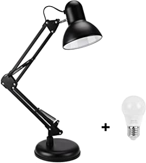 Swing Arm Desk Lamp,Table Lamp,Extra LED Bulb & Clamp,Metal Structure, Adjustable Shade Position, Architect Lamp for Offic...