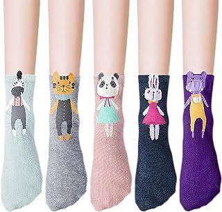 5 Pares Calcetines Animales Adultos Calcetines Fantasia Mujer Calcetines de Algodón Divertidos para Chicas Otoño Invierno (Rosado)