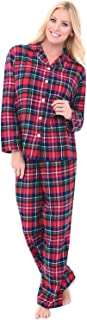 His and Hers Lightweight Flannel Pajamas, Long Button Down Cotton Pj Set