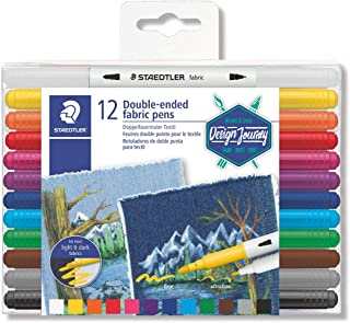 Staedtler Double-Ended Fabric Markers - Decorate T-Shirts, Pillows, Shoes and More, 12 Assorted Colors, 3190 TB12