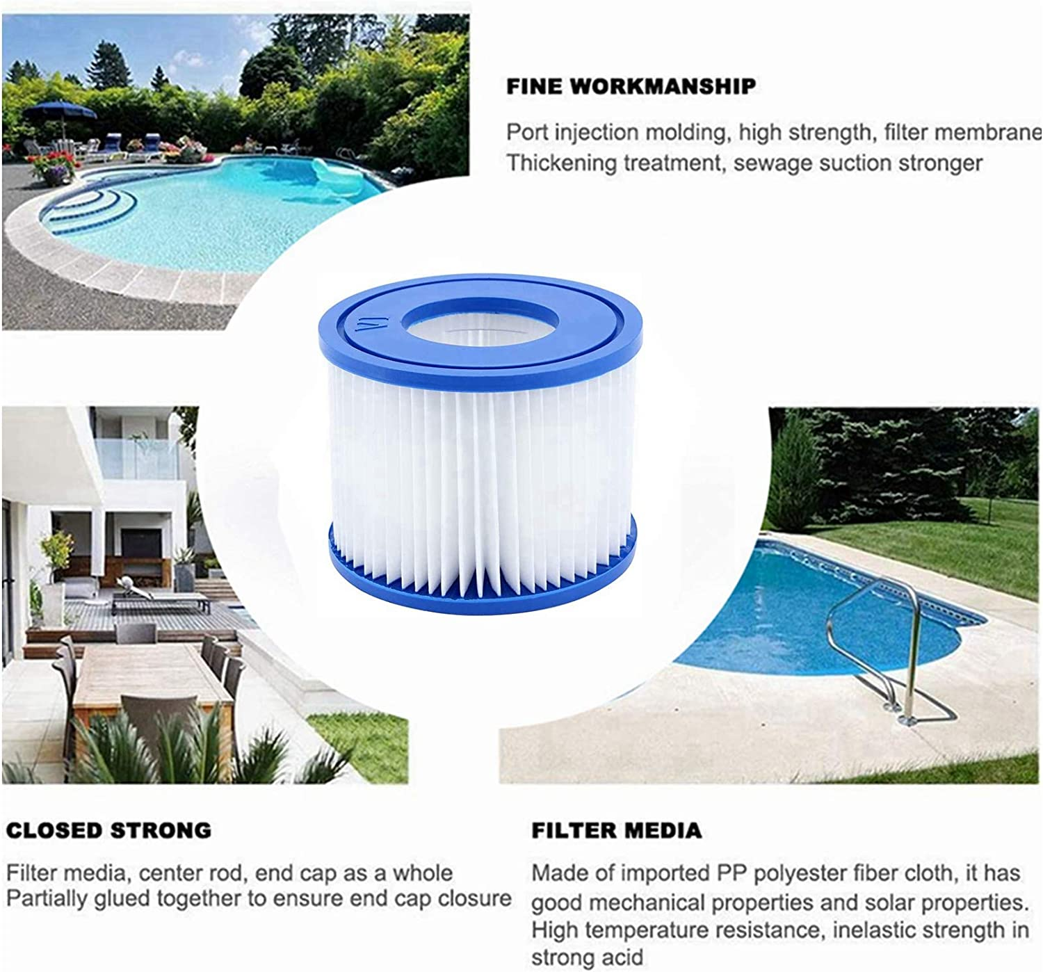 4 Pack SKTLBB Hot Tub Replacement Cartridge for Bestway Type VI Pool Filters,Replacement Cartridge for Bestway Coleman SaluSpa 90352E Swimming Pool Filters Pump Type VI Cartridge