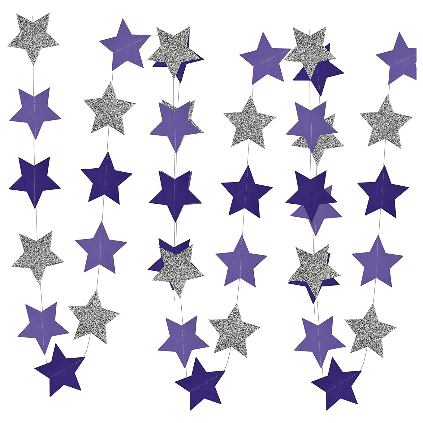 Purple Silver Birthday Party Decorations Glitter Purple Silver Star Garlands of 2pcs for Purple Bridal Shower Decorations/Purple Silver Baby Shower Decorations