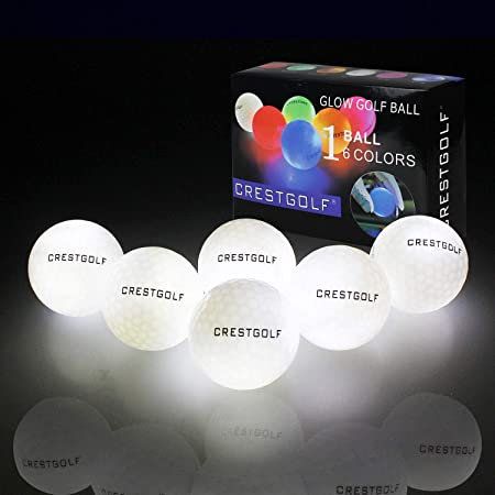 Crestgolf Flashing Glowing Golf Ball,Night Glow Flash Light up LED Golf Ball,six Color for Your Choice