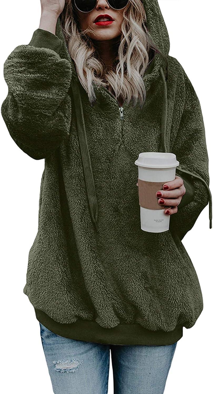 Fixmatti Women Sherpa Hoodie Pullover Fuzzy Sweatshirt Oversized Fleece Outwear