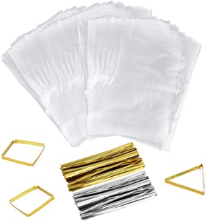 400 Clear Treat Bags and 400 Twist Ties Thick OPP Plastic Bags 6 in x 9 in for Cookie Cake Pops Gift Candy Buffet Supplies