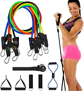 OUTCITY 11Pcs Resistance Band Set for Women and Men, 5 Elastic Exercise Bands with Handles, Training Tubes with Door Ancho...