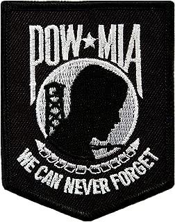 POW MIA Embroidered Patch Iron-On Vietnam War Prisoner of War Military Black White