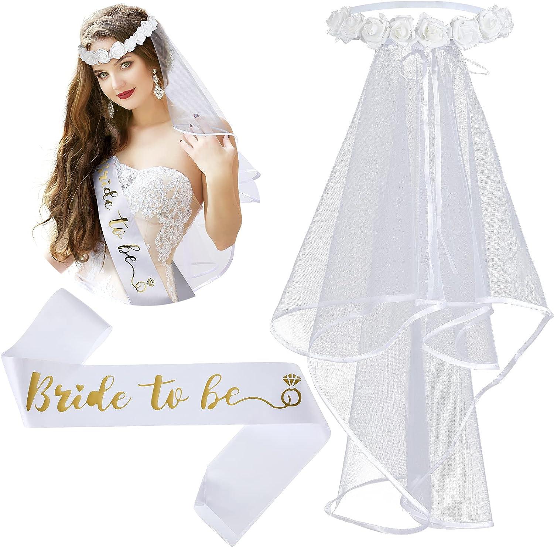 Bachelorette Veil Bridal Veil Boho Flower Crown Shower Veil Bachelorette Party Sash for Engagement Party Decorations Party Supplies